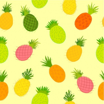 pineapple background colorful handdrawn sketch repeating decor