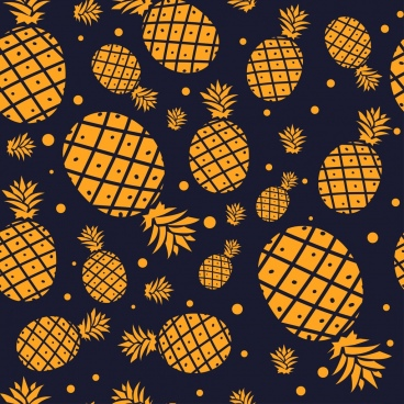pineapple background yellow flat design repeating decoration