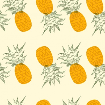 pineapple background yellow icons repeating decoration