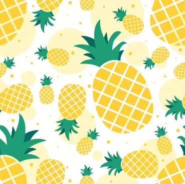 pineapple background yellow icons repeating flat design