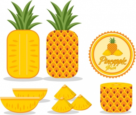 pineapple design elements yellow decor various shapes