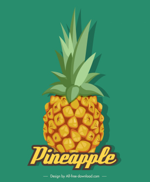pineapple icon bright colored classic sketch