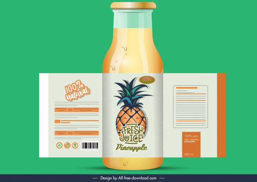 pineapple juice label classic fruit decor