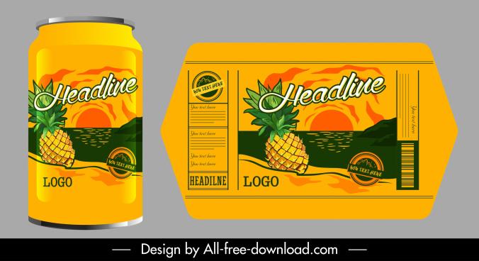 pineapple juice label template colored classic decor