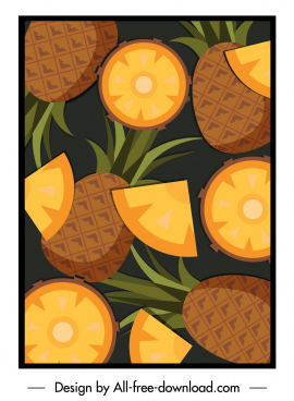 pineapple pattern classic colored flat sketch