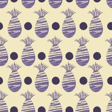 pineapples background violet flat repeating printed icons