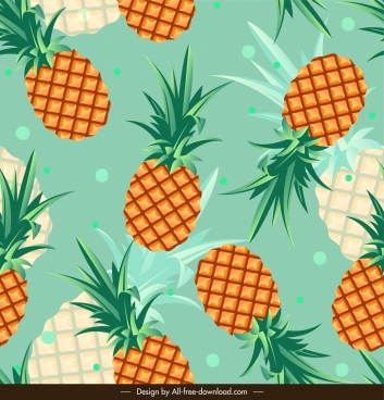pineapples pattern colorful flat repeating decor