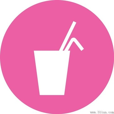 pink background beverage icons vector