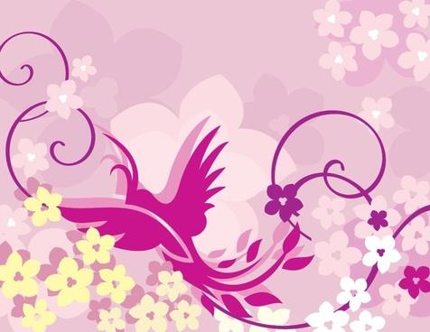 phoenix painting flower ornament classical design