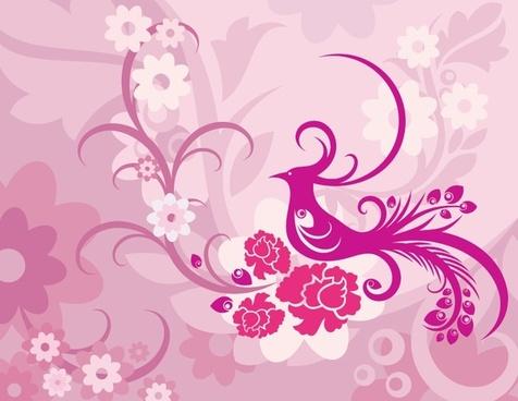 phoenix background classical pink ornament