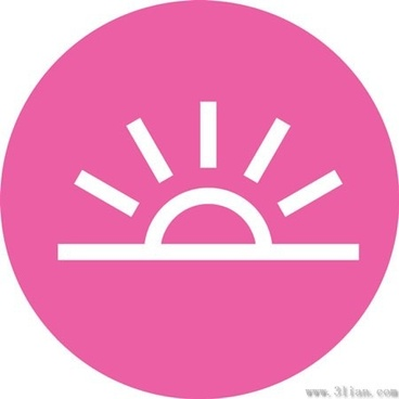 pink background sun icon vector
