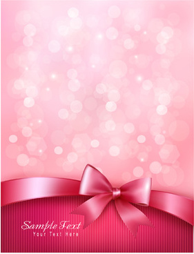 pink background with bow vector