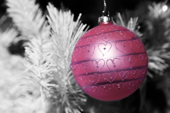 pink bauble with hearts