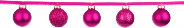 pink baubles on a ribbon