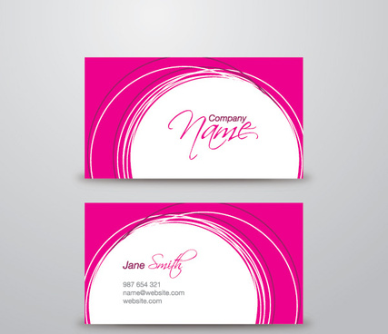Pink Business Card Vector Graphic