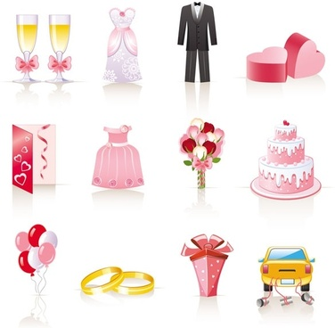 pink cartoon wedding jewelry vector