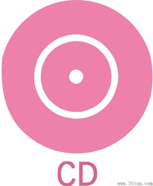 pink cd icon vector