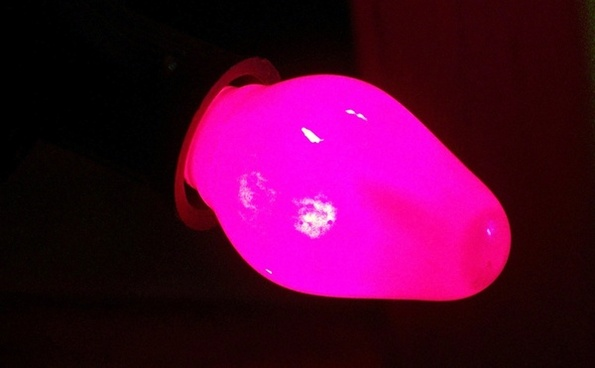 pink christmas light bulb