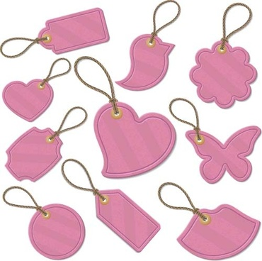 pink cute tags vector