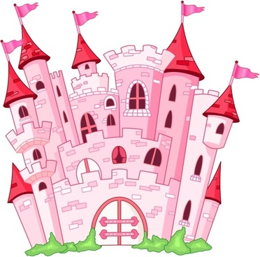 pink fairy princess castle vector