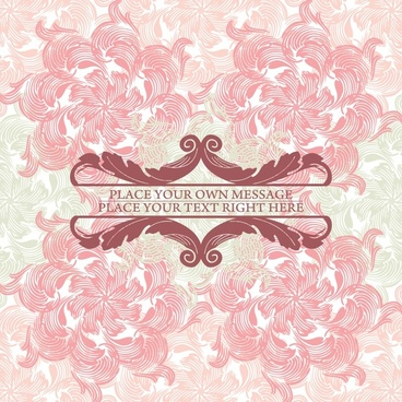 pink floral background vector line art