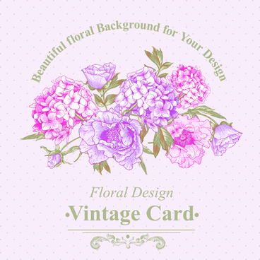pink floral vintage card vector