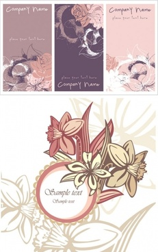 pink flower card background vector