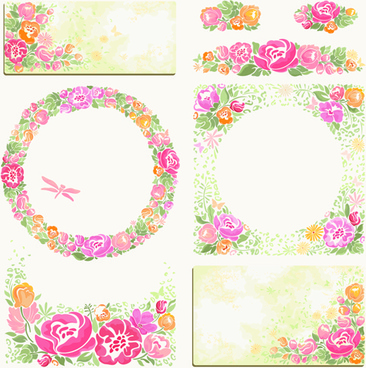pink flower frame and cards vector