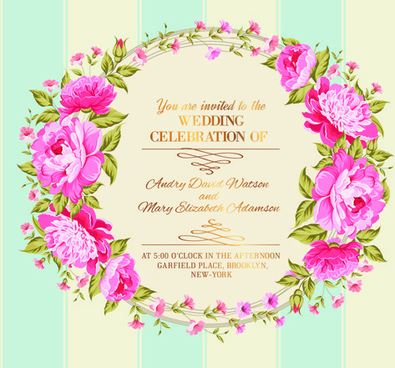 Flower Border Wedding Invitation Free Vector Download 17851