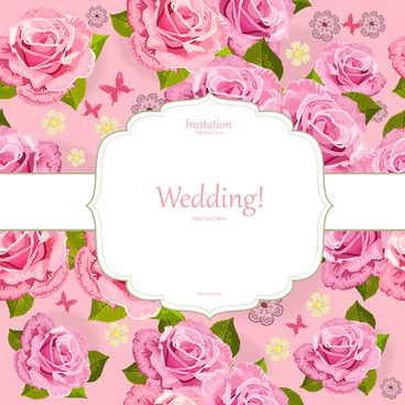 pink flower invitation background vector
