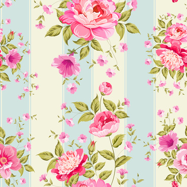 pink flower seamless pattern beautiful vector
