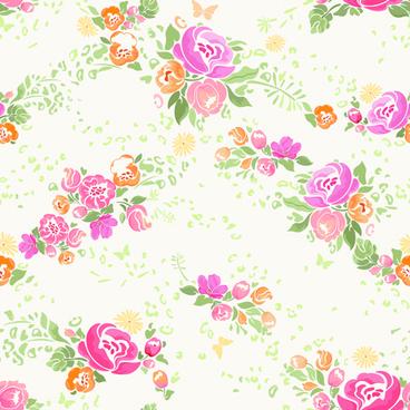 pink flower vector seamless pattern