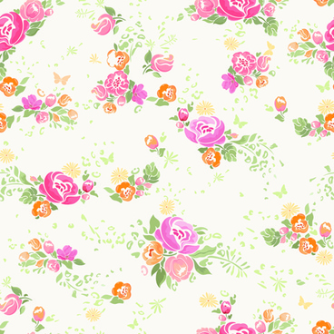 pink flower vector seamless pattern