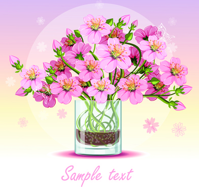 pink flower with glass cup design vector