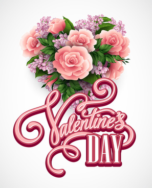 pink flower with heart shape valentine day cards vector