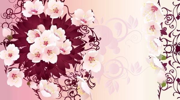 pink flowers art graphics
