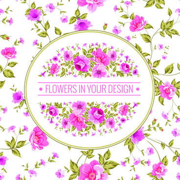 pink flowers pattern with background vector