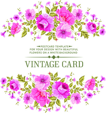pink flowers vintage card vector