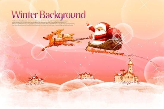 pink handpainted christmas posters psd layered