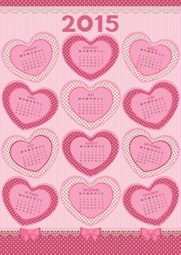 pink heart calendar15 vector