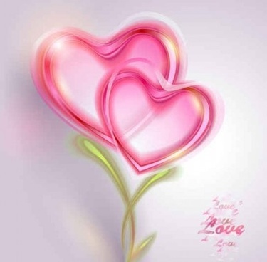 pink heart valentine card shiny vectors