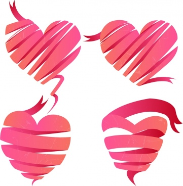 pink hearts icons 3d twisted ribbons sketch