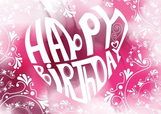 birthday background curves texts ornament heart layout