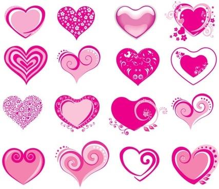 pink heartshaped icon vector