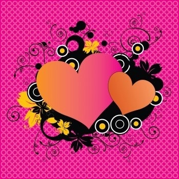 Pink Love Hearts Vector Illustrator EPS