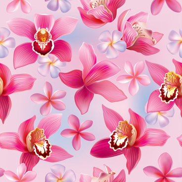 pink orchids vector seamless pattern