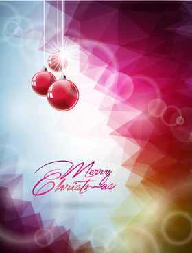 pink red christmas baubles with background vector