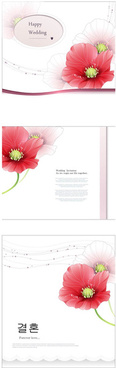 pink red flower wedding cards vector