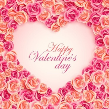valentine background colorful roses decoration heart shape style