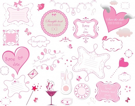 valentines design elements flat pink symbols sketch